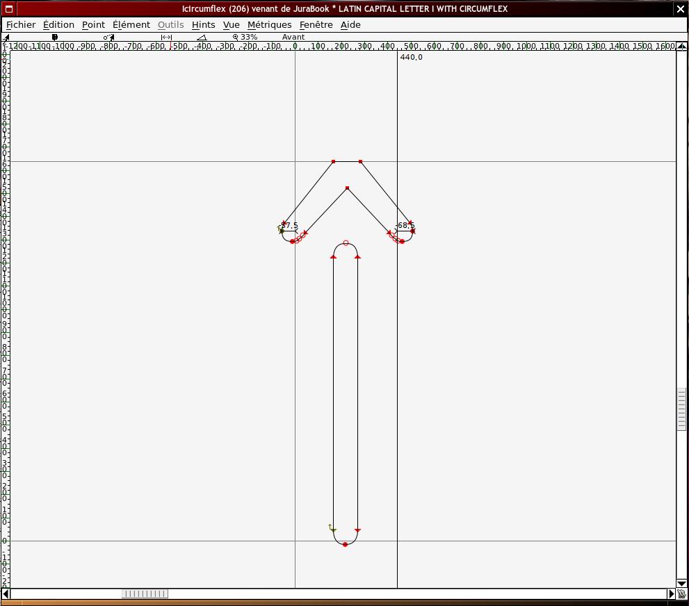 Capture d'écran du logiciel FontForge, mode dessin.