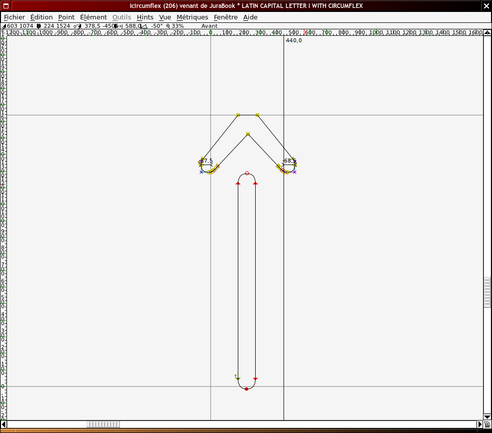 Capture d'écran du logiciel FontForge, accent circonflexe sélectionné.