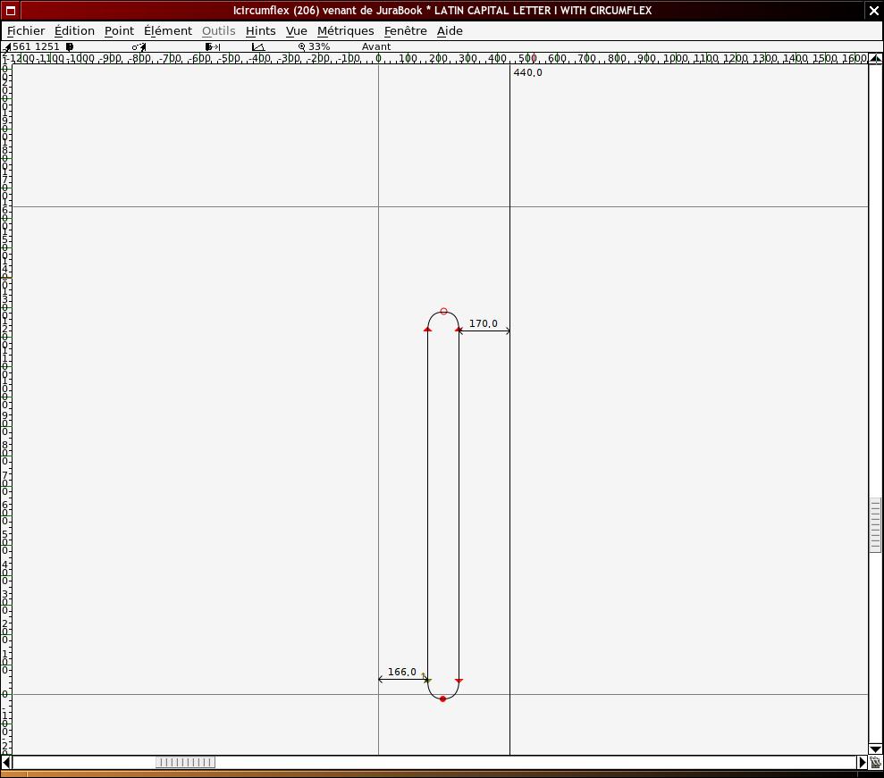 Capture d'écran du logiciel FontForge, accent circonflexe supprimé.
