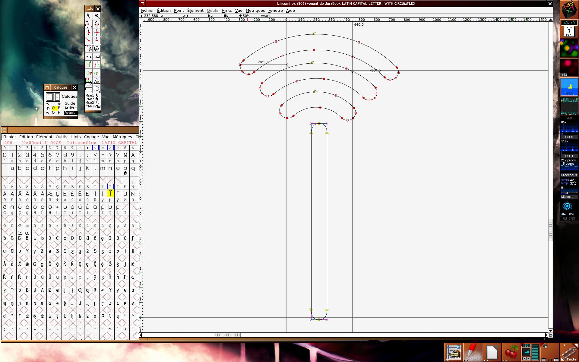 Capture d'écran avec le logiciel FontForge, et la lettre Î terminée.