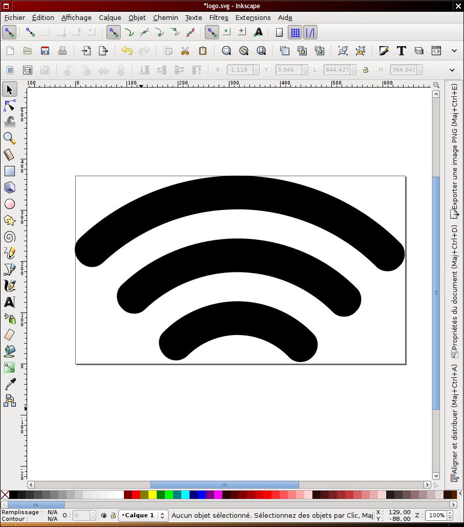 Capture d'écran du logiciel inkscape.
