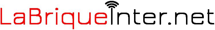 Texte La Brique Inter.net, en noir sur fond blanc, avec les ondes sur le i.