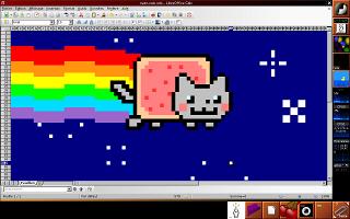 Un nyan cat dessiné dans Libre Office Calc