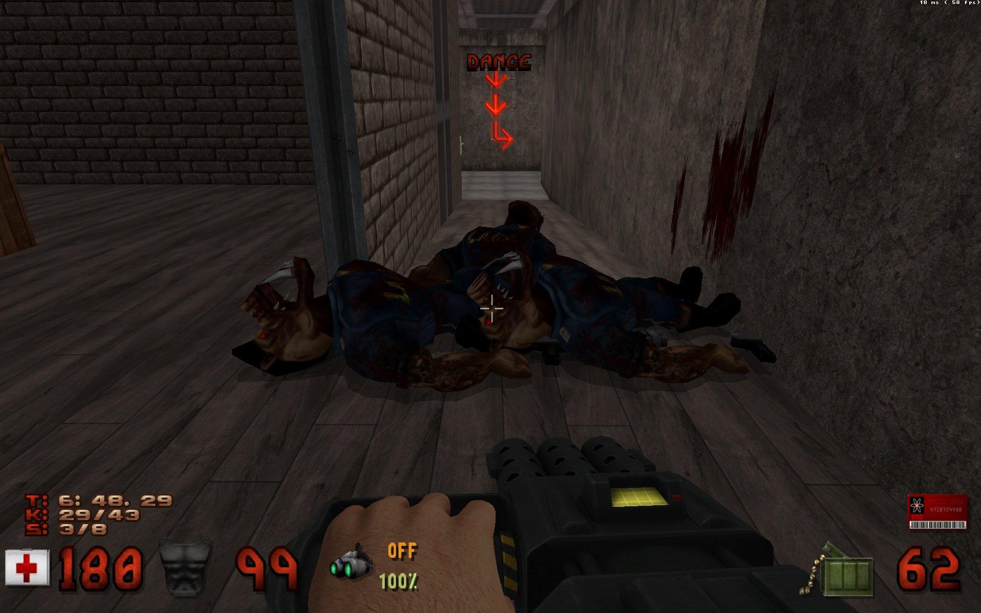 Une capture d'écran du jeu Duke Nukem 3D, montrant plusieurs des ennemis précédemment désignés, abattus par Duke lui-même.