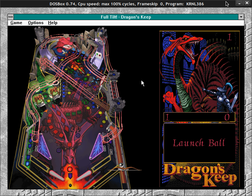 Capture d'écran de Dragon's Keep, sous Windows 3.1 - Dosbox