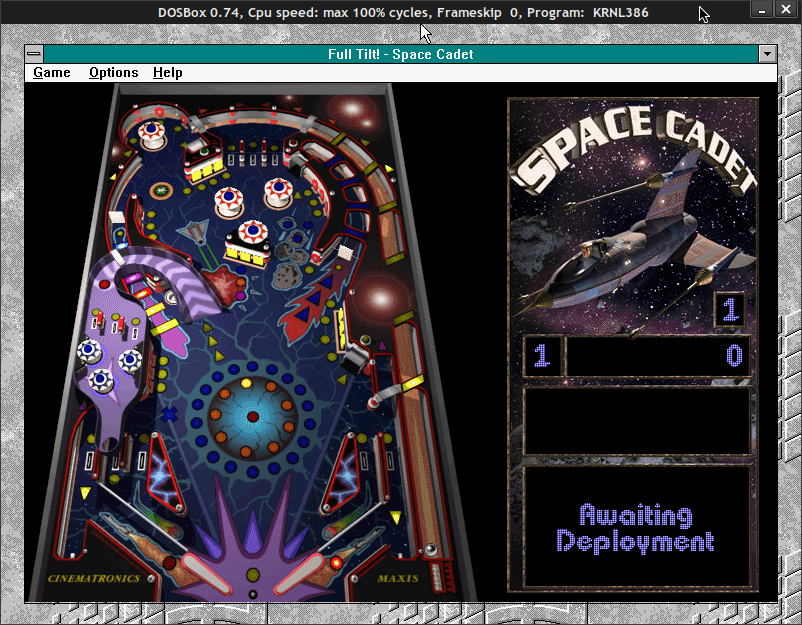 Capture d'écran de Space Cadet, sous Windows 3.1 - Dosbox