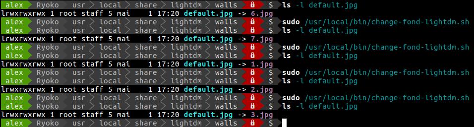 Capture d'écran du terminal contenant en alternance les commandes ls -l default.jpg et l'appel au script de changement d'image