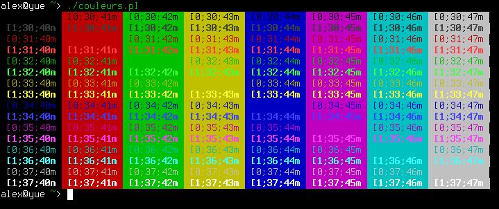 Grille montrant les couleurs qui peuvent être affichées dans un terminal.