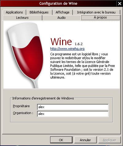 Capture d'écran de winecfg.