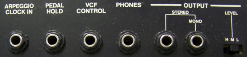Vue des connecteurs sur un Juno-6