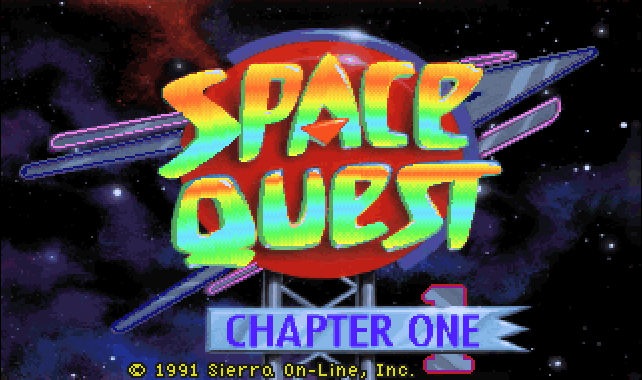 Capture d'écran de l'écran titre du jeu Space Quest
