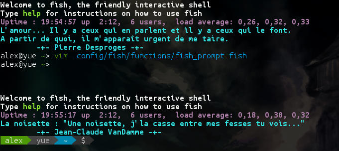 Comparaison entre le prompt de fish, par défaut, et de powerline-shell